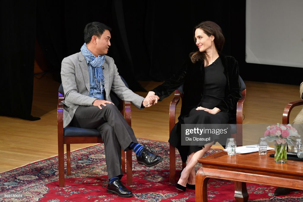 Phloeun Prim (L) and Angelina Jolie attend the 'Light After Darkness: Memory, Resilience and Renewal in Cambodia' discussion at Asia Society on December 14, 2017 in New York City.