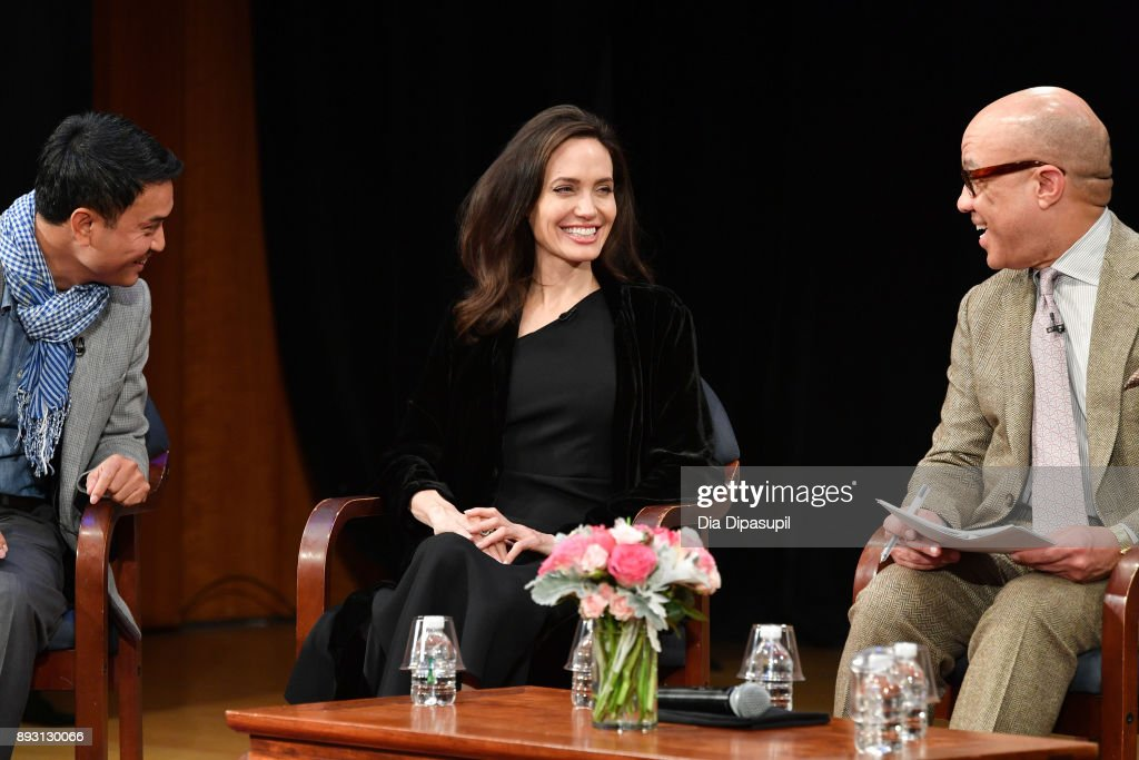 Phloeun Prim, Angelina Jolie, and Darren Walker attend the 'Light After Darkness: Memory, Resilience and Renewal in Cambodia' discussion at Asia Society on December 14, 2017 in New York City.