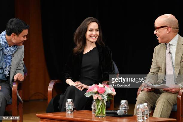 Phloeun Prim Angelina Jolie and Darren Walker attend the 'Light After Darkness Memory Resilience and Renewal in Cambodia' discussion at Asia Society...