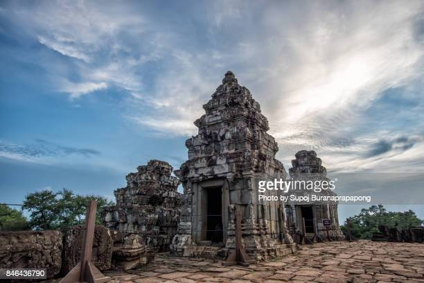 phnom bakheng famous place for sunset near angkor wat at siem reap,cambodia - khmer art stock photos and pictures