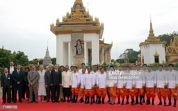 Foreign and Cambodian judges and prosecutors gather for a photograph after the swearing in ceremony inside of the royal palace in Phnom Penh, 03 July...