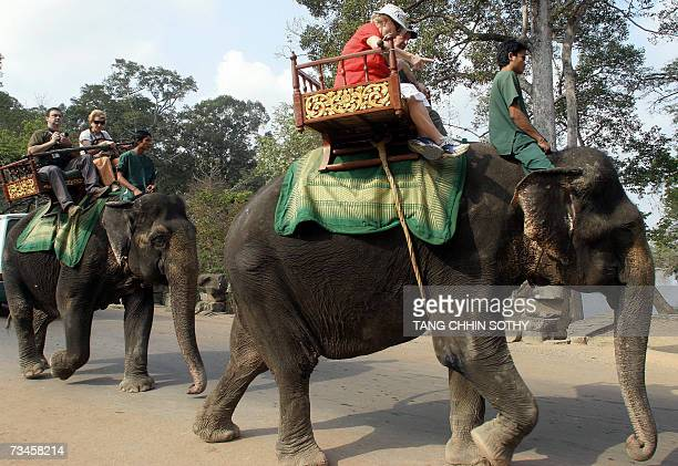 Foreign tourists ride on elephants visit the Cambodia's famed Angkor Wat temple in Siem Reap province some 314 kilometers north-west of Phnom Penh,...