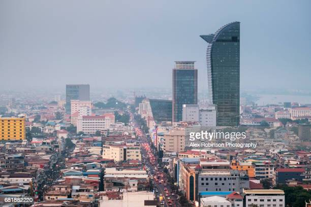 phnom penh, cambodian capital urban skyline - phnom penh stock pictures, royalty-free photos & images