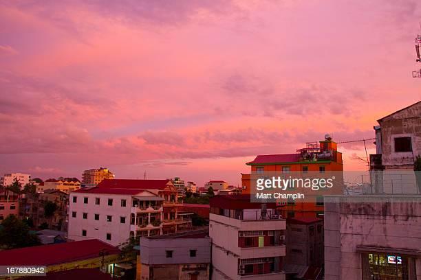 Phnom Penh cityscape at sunset