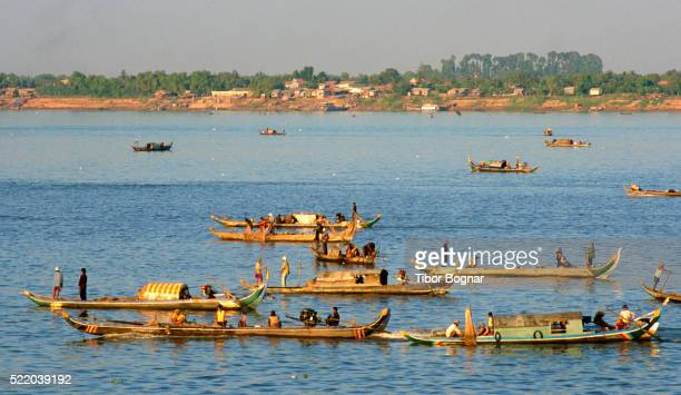 Phnom Penh, fishing boats, Tonle Sap and Mekong rivers