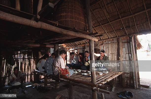 BOUSRA MONDOLKIRI CAMBODIA Phnong villagers pray in their hut before eating an afternoon meal A small group of Phnong montagnards usually animist...