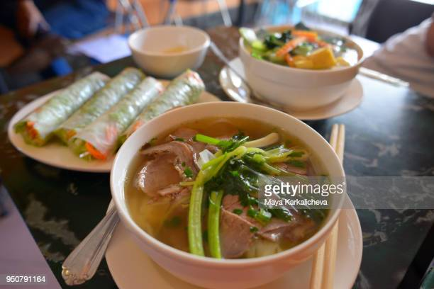 Pho Bo soup, traditional rice noodle soup with beef and fresh vegetable spring rolls, Hanoi, Vietnam