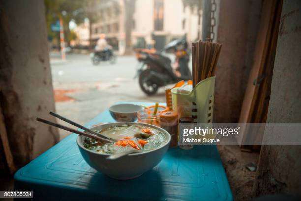 pho ga breakfast in hanoi, vietnam. - pho soup stock pictures, royalty-free photos & images
