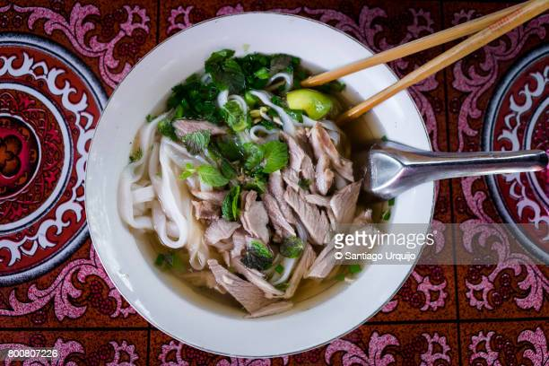 pho soup - laos stock pictures, royalty-free photos & images
