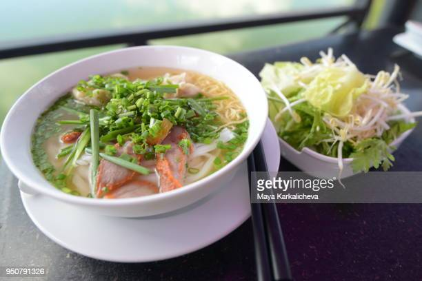 Pho soup, vietnamese traditional rice noodle soup with beef meat
