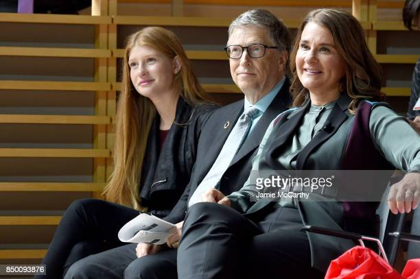 Phoebe Adele Gates Bill Gates and Melinda Gates attend the Goalkeepers 2017 at Jazz at Lincoln Center on September 20 2017 in New York City...