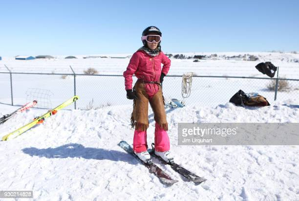 Phoebe Alverson prepares to compete in the National Finals Skijoring Races on March 10 2018 in Red Lodge Montana Competitors had to navigate four...