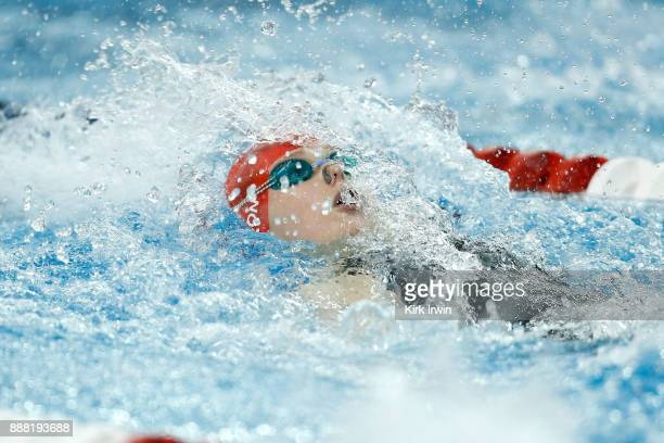 Phoebe Bacon of Nation's Capital Swim Club competes during the AFinal of the women's 100 yard backstroke during day 3 of the 2017 Swimming Winter...