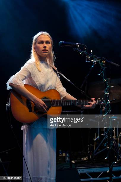 Phoebe Bridgers performs on the Walled Garden stage during day 2 at Greenman Festival on August 18 2018 in Brecon Wales