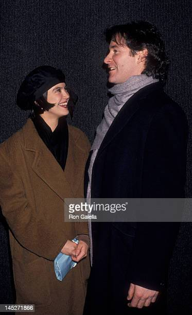 Phoebe Cates and Kevin Kline attend the premiere party for 'The January Man' on January 9 1989 at Wallman Skating Rink in New York City