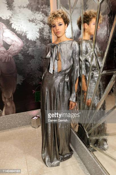 Phoebe CollingsJames attends the Pat McGrath 'A Technicolour Odyssey' Campaign launch party at Brasserie of Light Selfridges on April 04 2019 in...