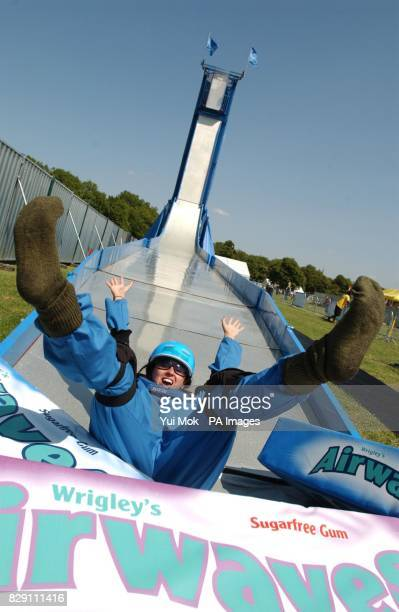 Phoebe Croyston from London tries out the Airwaves Dropzone ride the world's first trapdoor mobile slide at the Urban Games being held at Clapham...