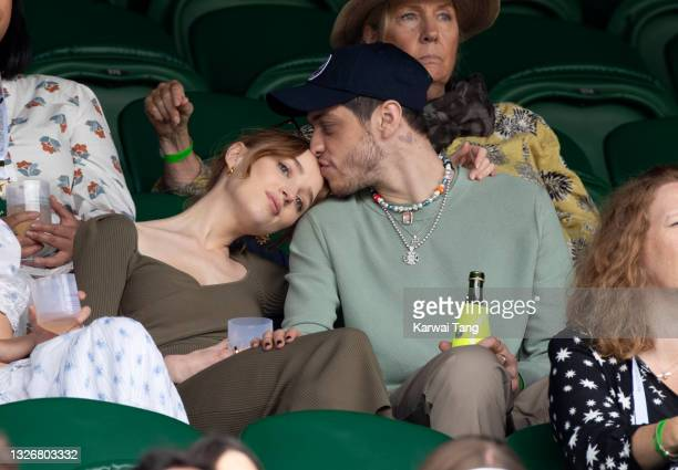 Phoebe Dynevor and Pete Davidson hosted by Lanson attend day 6 of the Wimbledon Tennis Championships at the All England Lawn Tennis and Croquet Club...