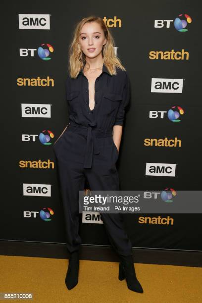 Phoebe Dynevor attends the gold carpet premiere of Snatch a new television show based on the Guy Ritchie movie of the same name at the BT Tower in...