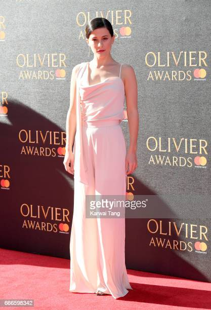 Phoebe Fox arrives for The Olivier Awards 2017 at the Royal Albert Hall on April 9 2017 in London England