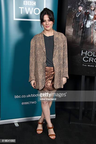 Phoebe Fox arrives for the preview screening for 'The Hollow Crown The Wars of the Roses Henry VI' on March 29 2016 in London United Kingdom