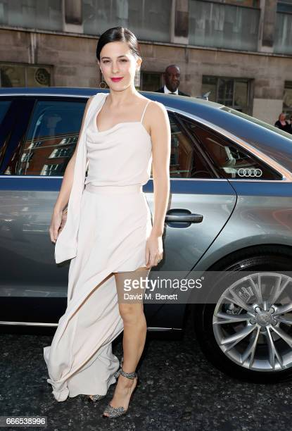 Phoebe Fox arrives in an Audi at the Olivier Awards at Royal Albert Hall on April 9 2017 in London England