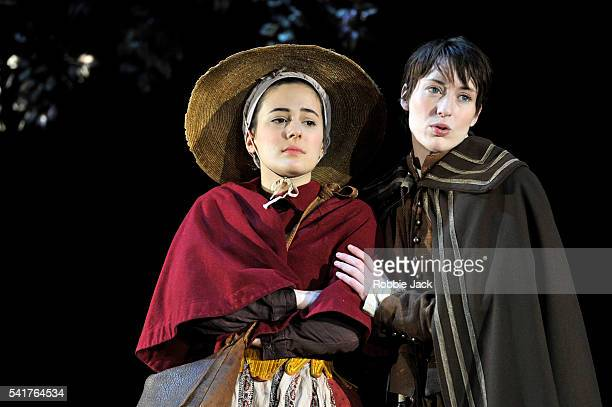 Phoebe Fox as Celia and Georgina Rich as Rosalind in William Shakespeare's As You Like It directed by Stephen Unwin at the Rose Theatre Kingston Upon...