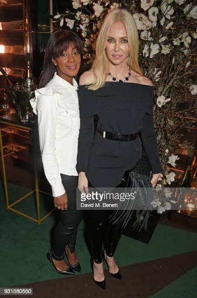 Phoebe Hitchcox and Amanda Cronin attend the launch of Champagne Armand de Brignac Blanc de Blancs en Magnum at Casa Cruz on March 13 2018 in London...