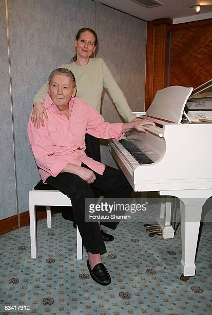 Phoebe Lewis and Jerry Lee Lewis attend press conference promoting performance at The London Rock 'n' Roll Festival at Royal Garden Hotel on October...