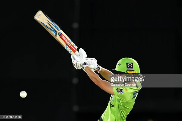 Phoebe Litchfield of the Thunder bats during the Women's Big Bash League WBBL Semi Final match between the Brisbane Heat and the Sydney Thunder at...