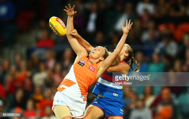 Phoebe McWilliams of the Giants contest a mark during the round seven AFL Women's match between the Greater Western Sydney Giants and the Western...