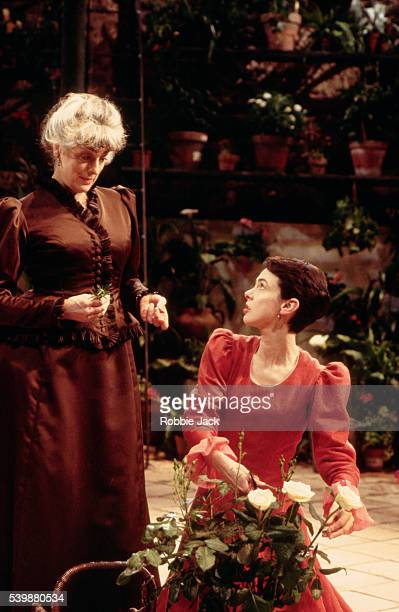 Phoebe Nicholls performs with Eleanor Bron in Dona Rosita The Spinster at the Almeida Theatre By Federico Garcia Lorca