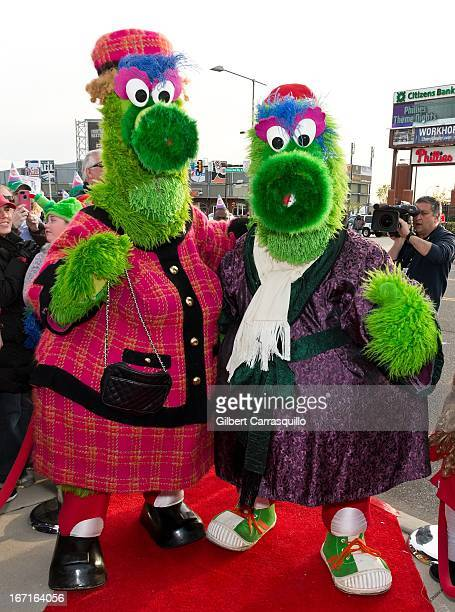 Phoebe Phanatic and her son The Phillie Phanatic attend the Phanatic's big birthday bash the 'Time Traveling Phanatic' premiere at Citizens Bank Park...