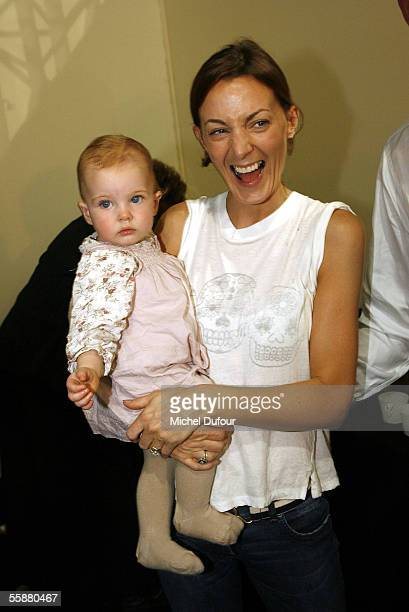 Phoebe Philo and her daugther Maya are seen backstage during the Chloe show as part of Paris Fashion Week Spring/Summer 2006 on October 8 2005 in...