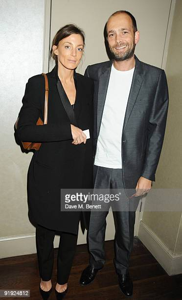 Phoebe Philo and Max Wigram attend the Cartier Frieze Dinner at Scotts Restaurant on October 15 2009 in London England