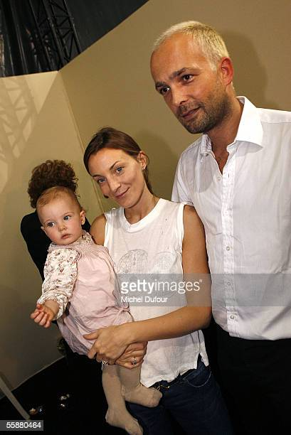 Phoebe Philo with her daugther Maya and her husband are seen backstage during the Chloe show as part of Paris Fashion Week Spring/Summer 2006 on...