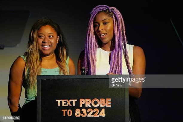 Phoebe Robinson and Jessica Williams attend The Golden Probe Awards 2016 at Le Poisson Rouge on October 2 2016 in New York City