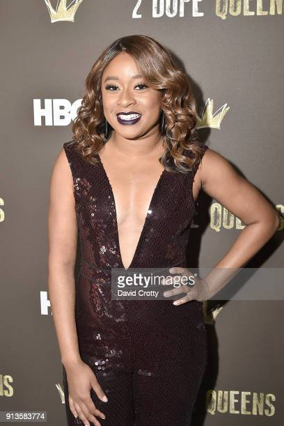 Phoebe Robinson attends HBO's '2 Dope Queens' Los Angeles Slumber Party Premiere at NeueHouse Hollywood on February 2 2018 in Los Angeles California