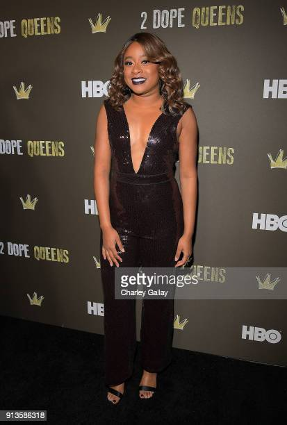 Phoebe Robinson attends HBO's 2 Dope Queens LA Slumber Party Premiere on February 2 2018 in Los Angeles California