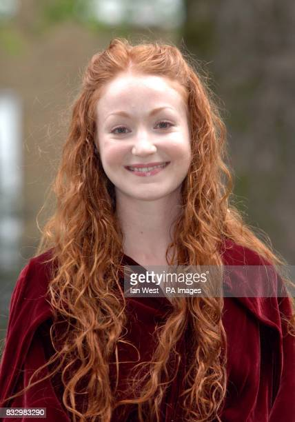 Phoebe Thomas in a photocall for her new film Lady Godiva in Soho Square central London