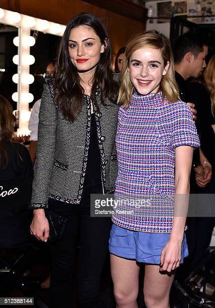 Phoebe Tonkin and Kiernan Shipka attend the I Love Coco Backstage Beauty Lounge at Chateau Marmont's Bar Marmont on February 25, 2016 in Hollywood,...
