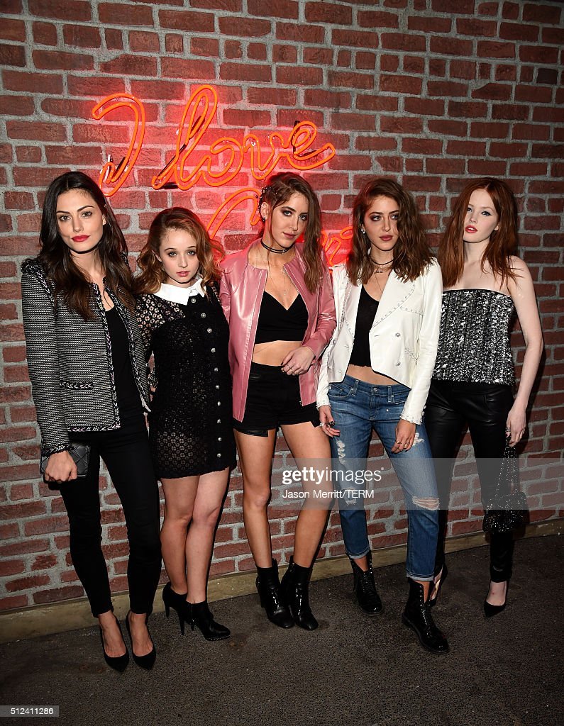 Phoebe Tonkin, Carson Meyer, Sama Abu Khadra, Haya Abu Khadra and Ellie Bamber attend the I Love Coco Backstage Beauty Lounge at Chateau Marmont's Bar Marmont on February 25, 2016 in Hollywood, California.