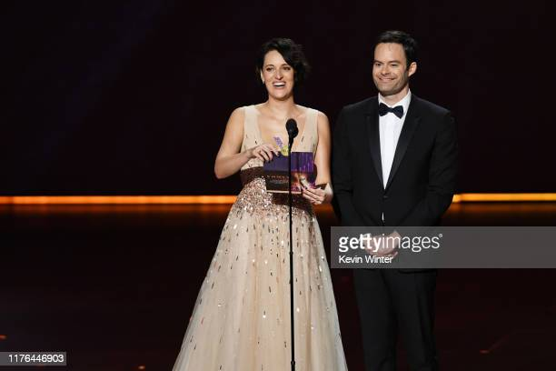 Phoebe WallerBridge and Bill Hader speak onstage during the 71st Emmy Awards at Microsoft Theater on September 22 2019 in Los Angeles California