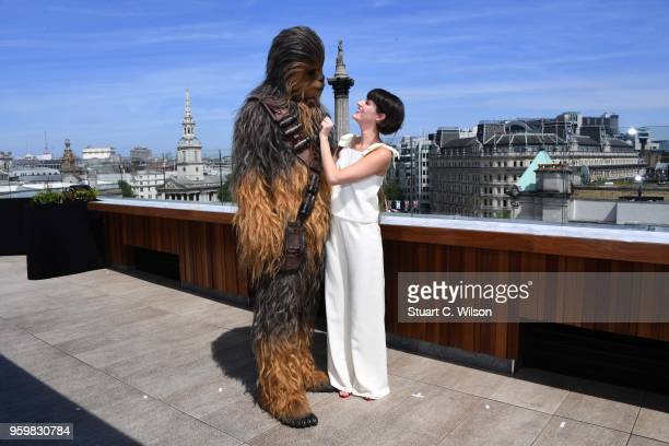 Phoebe WallerBridge and Chewbacca attend Solo A Star Wars Story photocall on May 18 2018 in London United Kingdom