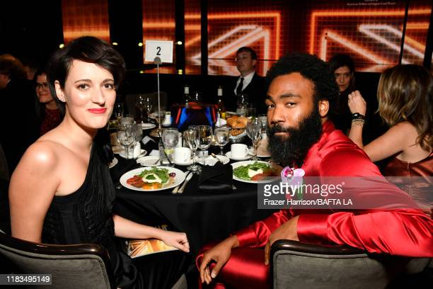 Phoebe Waller-Bridge and Donald Glover pose during the 2019 British Academy Britannia Awards presented by American Airlines and Jaguar Land Rover at...