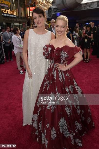 Phoebe WallerBridge and Emilia Clarke attend the premiere of Disney Pictures and Lucasfilm's 'Solo A Star Wars Story' at the El Capitan Theatre on...
