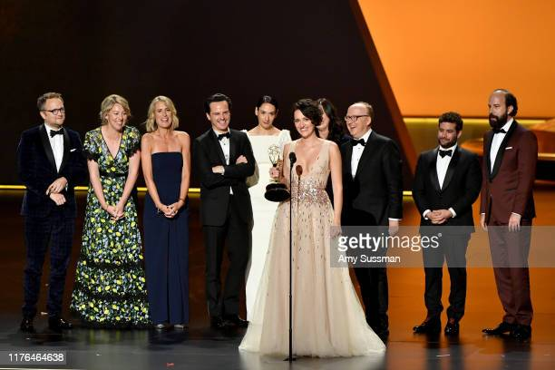 Phoebe WallerBridge and fellow cast and crew members of 'Fleabag' accept the Outstanding Comedy Series award onstage during the 71st Emmy Awards at...