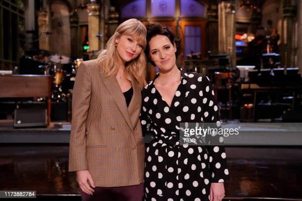 "Phoebe Waller-Bridge"" Episode 1769 -- Pictured: Musical guest Taylor Swift and host Phoebe Waller Bridge during promos in Studio 8H on October 3,..."