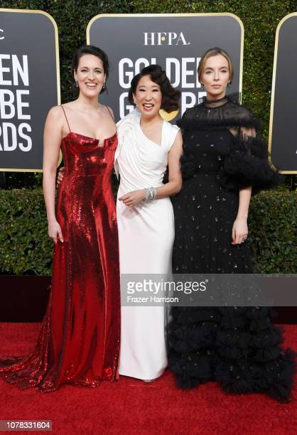 Phoebe WallerBridge host Sandra Oh and Jodie Comer attend the 76th Annual Golden Globe Awards at The Beverly Hilton Hotel on January 6 2019 in...