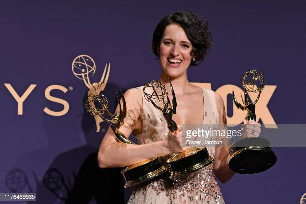 Phoebe Waller-Bridge poses with awards for Outstanding Comedy Series, Outstanding Lead Actress in a Comedy Series, and Outstanding Directing for a...